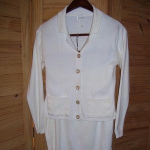 MODA INT'L Ivory 2 Piece Top & Skirt 100% Cotton M